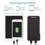POWERADD Batterie Externe Solaire 12000mAh, Chargeur Solaire Imperméable avec Deux Lampes LED et Briquet Intégré pour en Plein Air, Double Sortie USB pour Smartphone et Tablette, etc.
