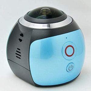 QAS 360 caméra panoramique – enregistreur de Conduite caméra sous-Marine VR – caméra numérique de Mouvement caméra – 360 Sports DV,Bleu,A