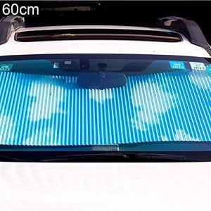 Rideau de voiture, fenêtre de voiture, anti-UV, rétractable pour pare-brise, pare-soleil – Bleu 60 cm