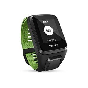 TomTom RUNNER 3 Cardio + Music + Casque BT – Montre de Sport GPS – Bracelet Fin – Noir/Vert