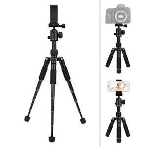 Topiky Mini trépied de Bureau, Support de Support de Voyage de téléphone Portable Pliable en Alliage d'aluminium Support de Selfie pour Photographie Support de vis 1/4 Pouce avec Clip
