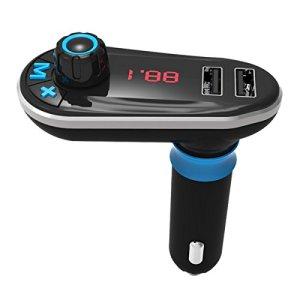 Transmetteur FM sans fil Bluetooth MATCC Voiture Bluetooth MP3 Lecteur FM Audio Adaptateur,Fente pour carte TF,Bluetooth Récepteur avec appel Contrôle et dual USB port ,Chargeur Voiture USB