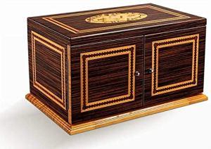 Trois couches de grande peinture cigare doublée de la capacité du bois de cèdre moelleux naturel humidor piano coffret hydratant Taille: 345 * 285 * 505mm humidificateur de boîte à cigaresc RVTYR