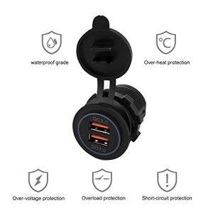 12-24V double chargeur USB anti-poussière, chargeur de voiture noir accessoire de voiture, pour moto de voiture