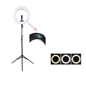 Appareil photo Kit éclairage vidéo 18 pouces anneau en forme de beauté Big ouverture Fill Light Diffusion en direct Télécommande trois couleurs LCD LED de la température douce lumière noire Téléphone