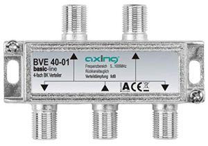 Axing BVE 40-01 splitter distributeur repartiteur 4 voies sorties pour FM CATV télévision numérique par câble (5-1000MHz)