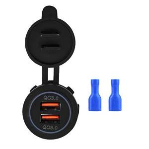 Double chargeur USB étanche, chargeur USB de voiture noir anti-poussière, accessoire de voiture QC3.0 pour moto de voiture