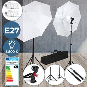Kit d'Éclairage pour Studio Photo – 2 Parapluies, 2 Supports Trépied Réglables (78-230 cm), 2 Ampoules (E27) et Sac de Transport – Kit de Lumière pour Studio Vidéo, Photographie