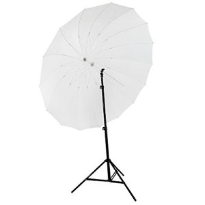 Neewer® Parapluie Photo Studio Blanc 72″/185cm Parabolique Diffusion 16 Fibre de Verre Nervure 7mm Manche + Sac de Transport