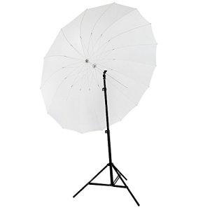 Neewer® Parapluie Photo Studio Blanc 72″/185cm Parabolique Diffusion 16 Fibre de Verre Nervure 7mm Manche + Sac de Transport