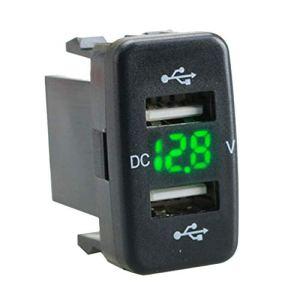Vaorwne Adaptateur D'Affichage de Volt de Charge de Prise de Chargeur de Voiture Double Port D'Usb Ajustement pour Vert