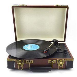 WNTHBJ Lecteur de Disque Tourne-Disque Portable, 33/45/78 RPM LP Vinyle Tourne-Disque, Haut-Parleur intégré entrée RCA auxiliaire et entraînement à Courroie de Sortie