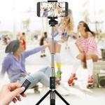 Bâton de Retardateur Bâton Selfie Bâton 3 dans 1 Téléphone Mobile Bâton Trépied Monopode Téléphone Mobile Bluetooth Selfie Bâton 90Cm, O&YQ,