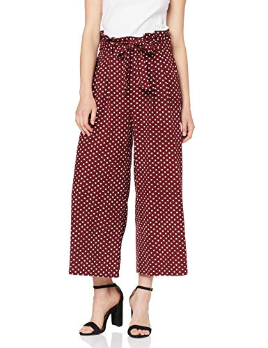 MISS SELFRIDGE Spotted Linen Paperbag Wide Leg Trousers Pantalon, Rouge (Red 010), 34 (Taille Fabricant: 6) Femme