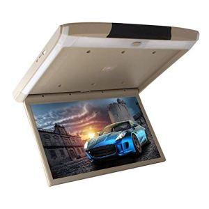 19 pouces voiture Android 6,0 Flip Down Monitor HDMI 1080P HD TFT LCD lecteur vidéo en tête pour voiture SD MP3 MP5 LED avec USB TF HDMI WiFi miroir lien beige,Beige