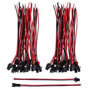 22 AWG JST SM JST Connector 2 Pin Adaptateur de Connecteur Mâle et Femelle avec Câble de Électrique de 135 mm pour LED Light, 20 Paires