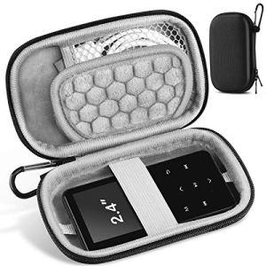 AGPTEK Etui Rigide, Housse de Protection pour Ranger et Protéger Mp3/ Ecouteur/Clé/Câbles USB avec Double Zip, Etui Anti-Choc et Portable Compatible avec MP3 d'Ecran 2,4 Pouces- Noir