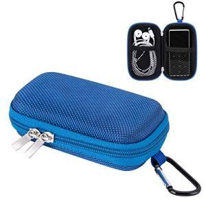 AGPTEK Etui Rigide Nylon pour Ranger et Protéger Mp3/ Ecouteur/Clé avec Double Filet et Double Zip pour Lecteur MP3 A02, M16S, S12 etc.(Compatible avec MP3 de Ecran 1.8 Pouces)-Bleu