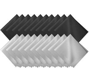 GCOA Lot de 20 Chiffons de Nettoyages en Micro-Fibr pour Nettoyer Lunettes, Caméras,Tablettes, Écrans LCD, Téléviseur, Pare Brise et Autres Surfaces Délicates(10 Noir + 10 Gris,18 x15 cm)