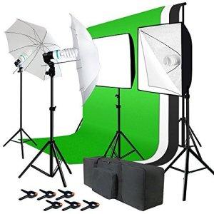 Julius Studio JSAG195 Kit Studio Photo avec écran de Fond en Mousseline et système de Soutien, réflecteur Parapluie, Ampoule, diffuseur de lumière, Douille, trépied