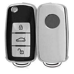 kwmobile Accessoire Clef de Voiture Compatible avec VW Skoda Seat 3-Bouton – Coque de Protection en Silicone Noir-Argent Haute Brillance