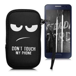 kwmobile Housse de Protection pour Smartphone M – 5,5″ – Sacoche de Protection pour Téléphone Portable en Néoprène Blanc-Noir