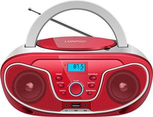 LONPOO Radio CD Portable Lecteur CD Enfants Bluetooth Boombox Stéréo Haut-parleurs connectivité Entrée USB/AUX/Sortie écouteur (Rouge)