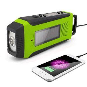 Raidos, Radio à manivelle, Radio Dynamo à manivelle Solaire, 2000mAh Rechargeable USB/am FM/Lampe de Poche/Alarme SOS, pour Le Camping, la randonnée, Rouge
