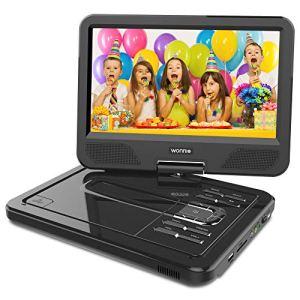 WONNIE 2019 Upgrade 12.5″ Lecteur DVD Portable avec écran Rotatif à 270°, Carte SD et Prise USB avec Charge directe Formats/RMVB/AVI / MP3 / JPEG, Parfait pour Enfants (Noir)