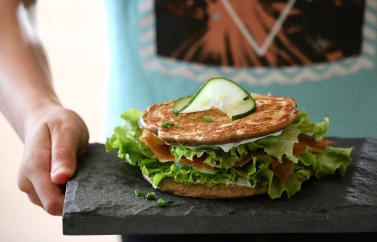recette sandwich blinis sarrasin truite fumée, sans gluten IG bas