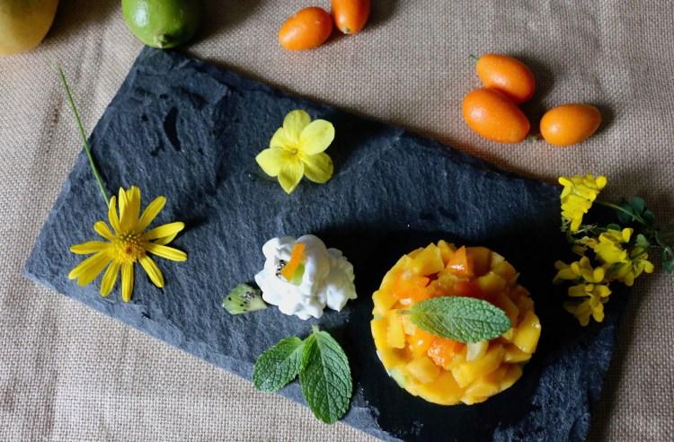 Salade de fruits exotiques et chantilly de coco IG bas