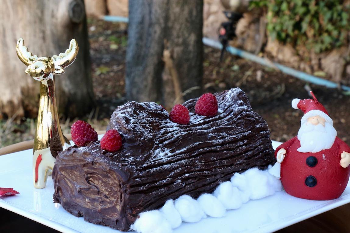 Bûche de Noël framboises chocolat