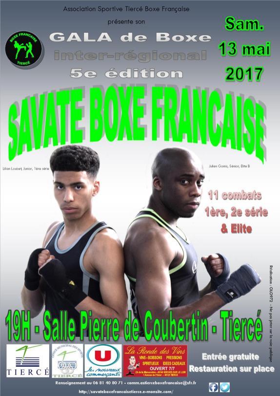 Affiche 3 gala Savate Boxe Française - Tiercé - 2017