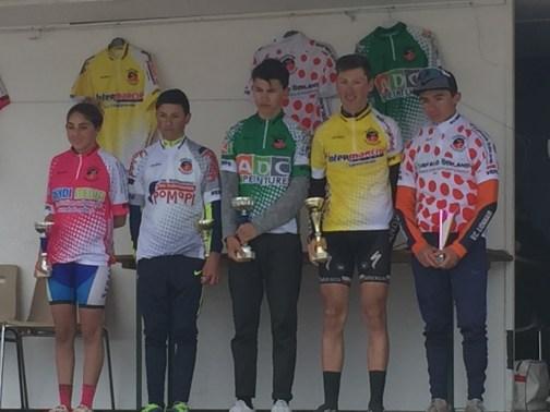 Les cadets Maxime Supiot, et Nathan Charbonnier, maillots vert et jaune du challenge Intermarché.