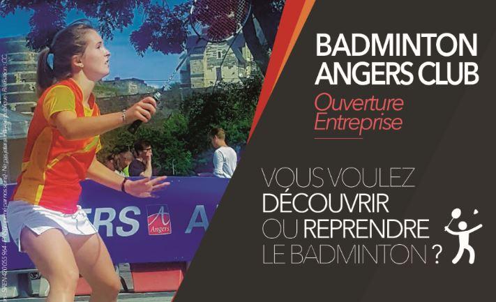 Le Badminton Angers Club propose des créneaux débutants ouverts aux entreprises.