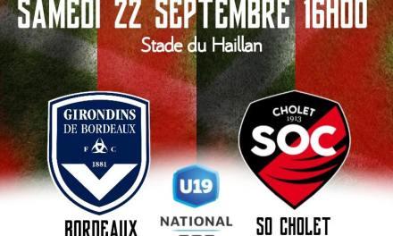 U19 National (5e journée) : Défaite sévère, mais logique du SO Cholet à Bordeaux (7-0).