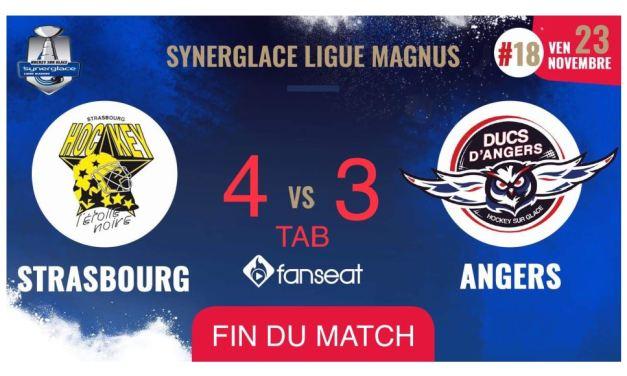 Ligue Magnus (18e journée) : Mauvaise opération pour Angers qui s'incline à Strasbourg (4-3, ap.).