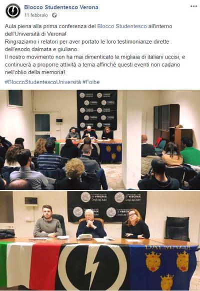 Post sulla conferenza del 10 febbraio 2018 condiviso dalla pagina Facebook del Blocco Studentesco Verona