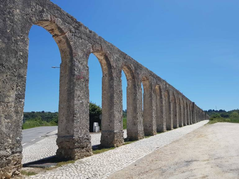 The arches and columns of the aqueduct carrying water to Obidos.