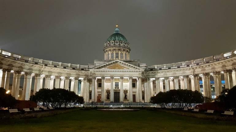 Kazan Cathedral lit up at night