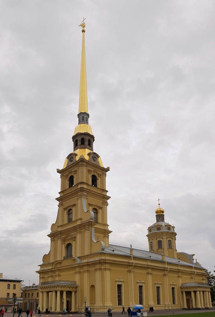 The golden cathedral of Saints Peter and Paul with the immene golden spire on Hare Island