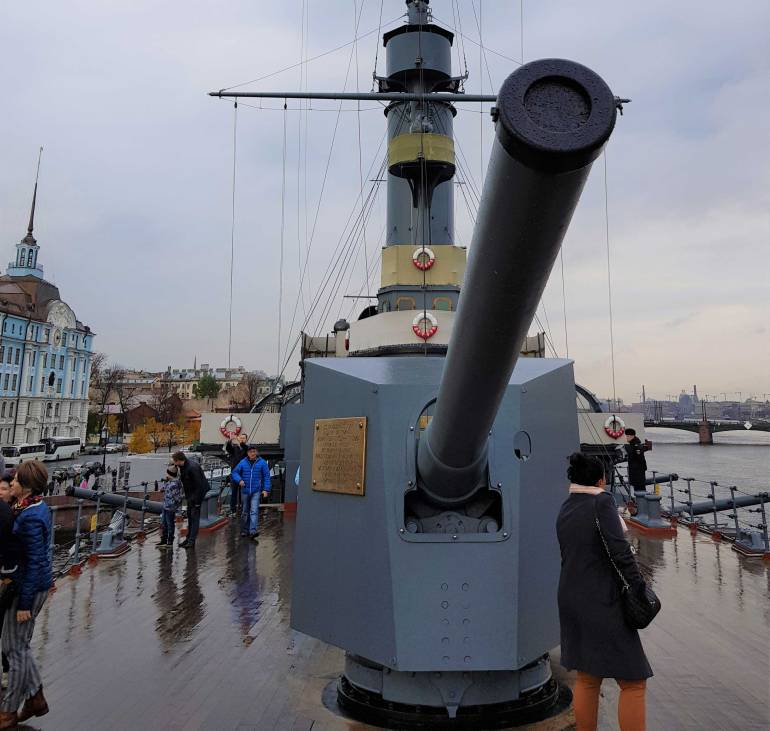 The cannon on the front of the Aurora which is said to have fired a blank round at the Winter Palace to signal the start of the October Revolution