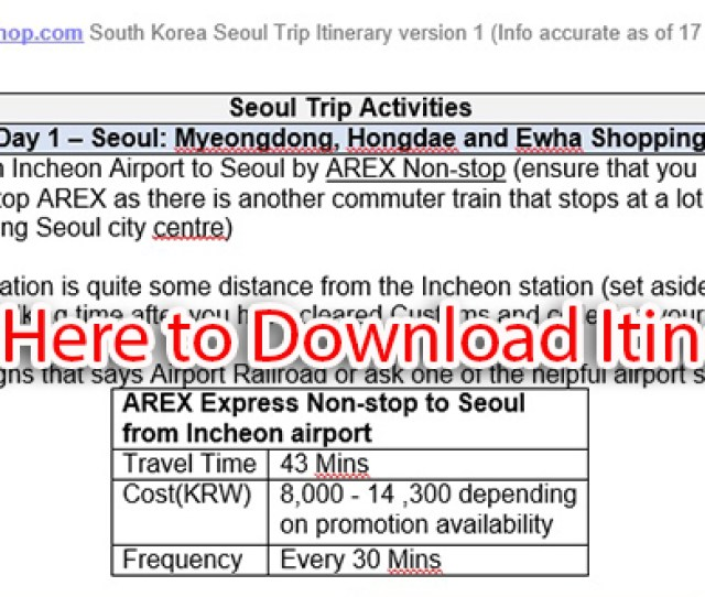 Sociallocker Seoul Itinerary Download