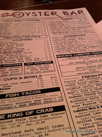 Shaws Oyster Bar Menu