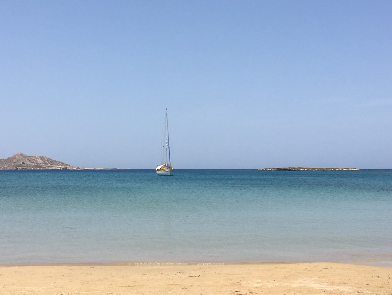 The lovely beach outside of Naousa, Paros, across from the Contaratos Beach Hotel