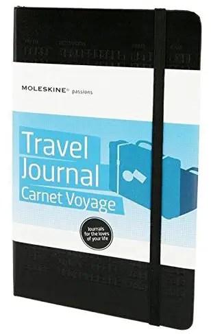 Moleskine has some great travel journals.