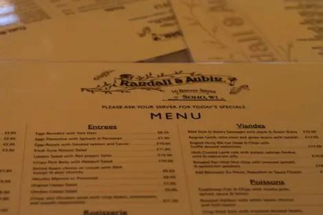 Randall and aubin menu
