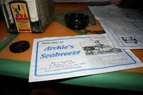 Archies seebreeze menu