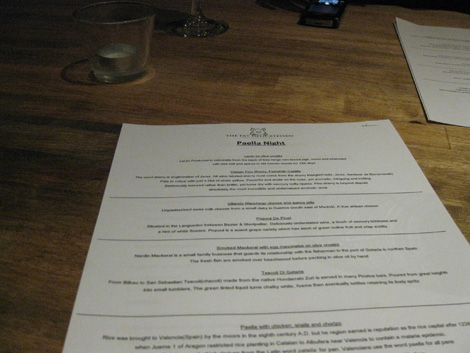 Paella night menu