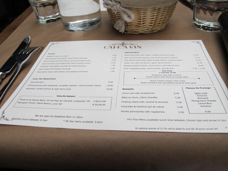 Cafe a vin menu